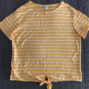 Old Navy Sz L Yellow/White Top